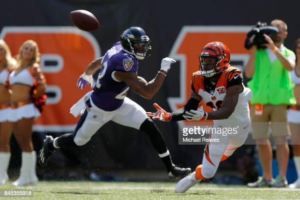 Cody Core of the Cincinnati Bengals catches a pass from Andy Dalton of the Cincinnati Bengals during the fourth quarter of the game against the...