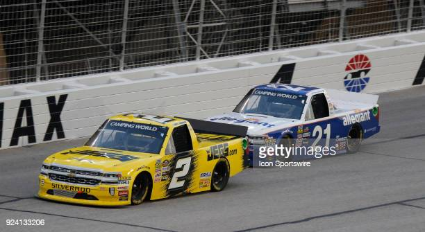 Cody Coughlin GMS Racing Jeg'scom Chevrolet Silverado Johnny Sauter GMS Racing Allegiant Airlines Chevrolet Silverado during the running of the 10th...