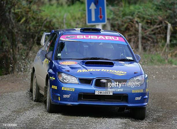 Cody Crocker and codriver Ben Atkinson of Australia drive their Subaru Impreza WRX during SS3Cassidy 1 on leg 1 of the International Rally of...