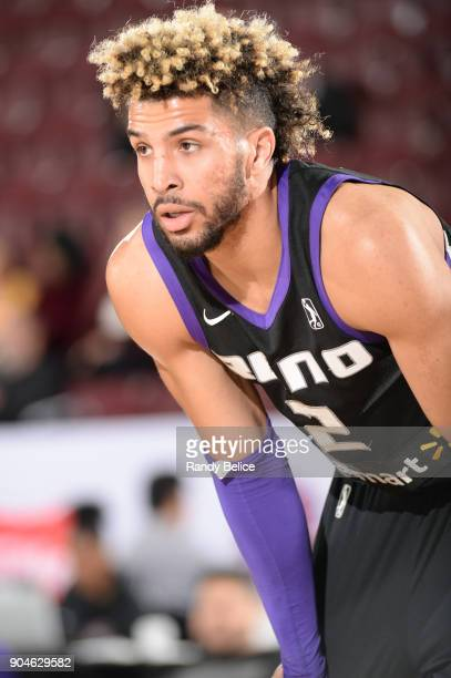 Cody Demps of the Reno Bighorns goes on the defense against the Delaware 87ers during NBA GLeague Showcase Game 26 on January 13 2018 at the Hershey...