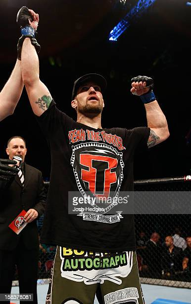 Cody Donovan reacts after defeating Nick Penner during their light heavyweight fight at the UFC on FX event on December 15 2012 at Gold Coast...
