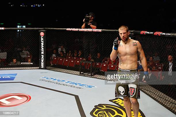 Cody Donovan reacts after knocking out Nick Penner during their light heavyweight fight at the UFC on FX event on December 15 2012 at Gold Coast...