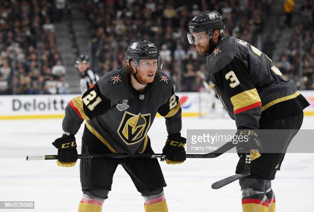 Cody Eakin and Brayden McNabb of the Vegas Golden Knights look on in Game Two of the 2018 NHL Stanley Cup Final against the Washington Capitals at...
