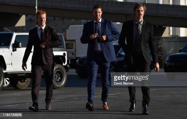 Cody Eakin Brayden McNabb and Jon Merrill of the Vegas Golden Knights arrive at TMobile Arena prior to a game against the Montreal Canadiens on...