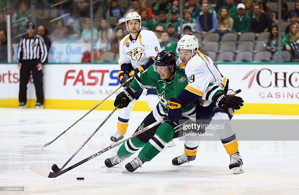 Cody Eakin #20 of the Dallas Stars skates the puck against Calle Jarnkrok #19 of the Nashville Predators in the first period at American Airlines Center on April 9, 2016 in Dallas, Texas.