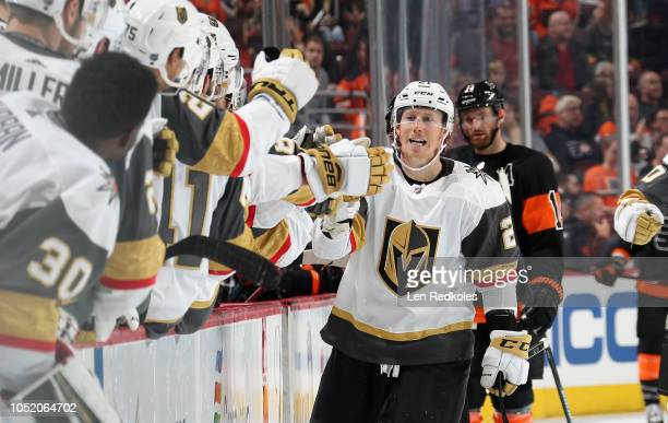 Cody Eakin of the Vegas Golden Knights celebrates his gamewinning third period goal against the Philadelphia Flyers with his teammates on the bench...