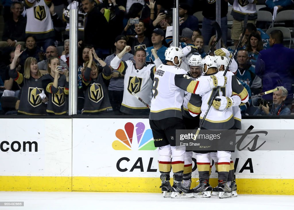 Cody Eakin #21 of the Vegas Golden Knights is congratulated by teammates after he scored an empty net goal late in the third period against the San Jose Sharks during Game Six of the Western Conference Second Round during the 2018 NHL Stanley Cup Playoffs at SAP Center on May 6, 2018 in San Jose, California.