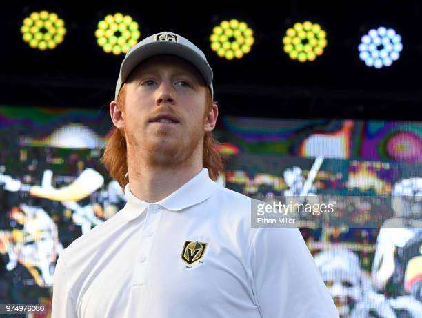 Cody Eakin of the Vegas Golden Knights is introduced at the team's 'Stick Salute to Vegas and Our Fans' event at the Fremont Street Experience on...