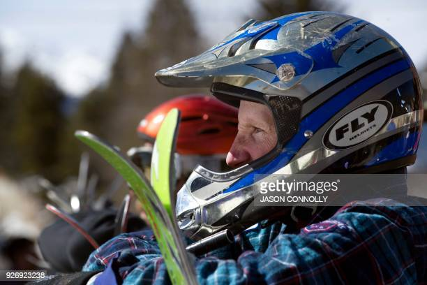 Cody Ehlenfeldt contemplates his race down Harrison Avenue during the 70th annual Leadville Ski Joring weekend competition on March 3 2018 in...