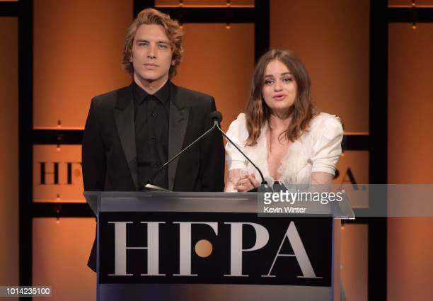 Cody Fern and Joey King speak onstage during the Hollywood Foreign Press Association's Grants Banquet at The Beverly Hilton Hotel on August 9 2018 in...