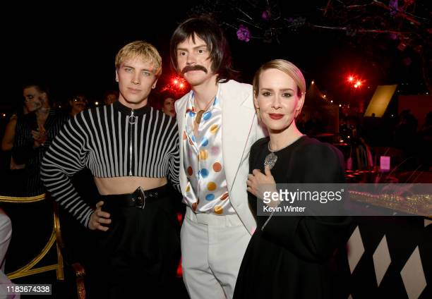 Cody Fern Evan Peters and Sarah Paulson attend FX's American Horror Story 100th Episode Celebration at Hollywood Forever on October 26 2019 in...