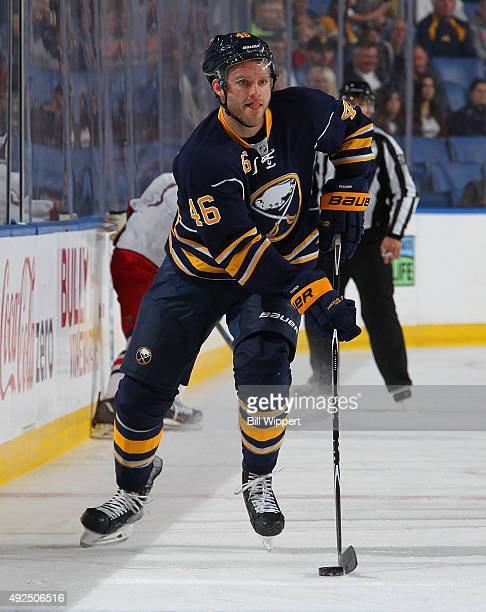 Cody Franson of the Buffalo Sabres skates against the Columbus Blue Jackets on October 12 2015 at the First Niagara Center in Buffalo New York