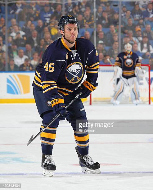 Cody Franson of the Buffalo Sabres skates against the Tampa Bay Lightning on October 10 2015 at the First Niagara Center in Buffalo New York