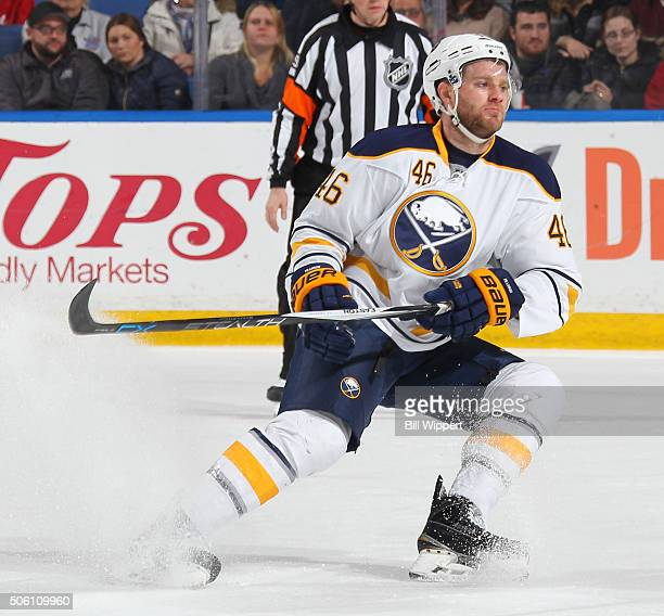 Cody Franson of the Buffalo Sabres skates against the Washington Capitals during an NHL game on January 16 2016 at the First Niagara Center in...