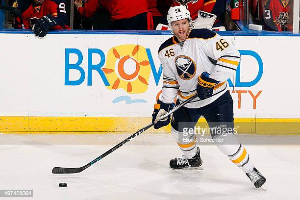 Cody Franson of the Buffalo Sabres skates with the puck against the Florida Panthers at the BBT Center on November 12 2015 in Sunrise Florida