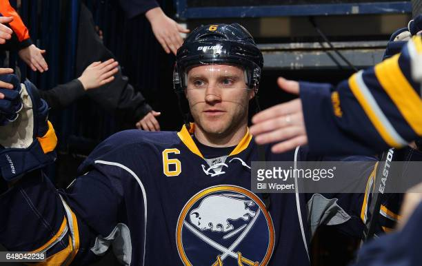 Cody Franson of the Buffalo Sabres steps onto the ice before an NHL game against the Tampa Bay Lightning at the KeyBank Center on March 4 2017 in...