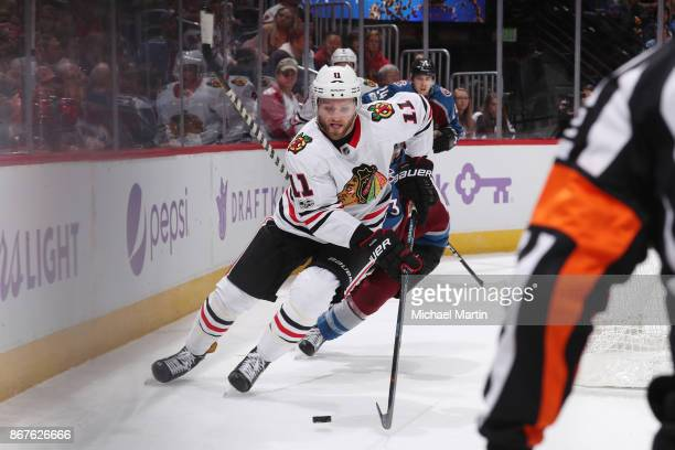 Cody Franson of the Chicago Blackhawks skates against the Colorado Avalanche at the Pepsi Center on October 28 2017 in Denver Colorado