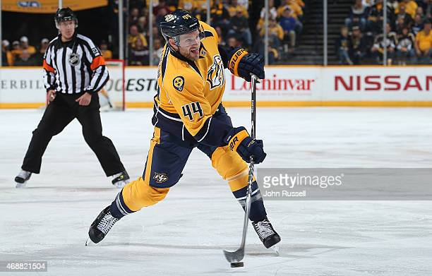 Cody Franson of the Nashville Predators skates against the Dallas Stars during an NHL game at Bridgestone Arena on April 4 2015 in Nashville Tennessee
