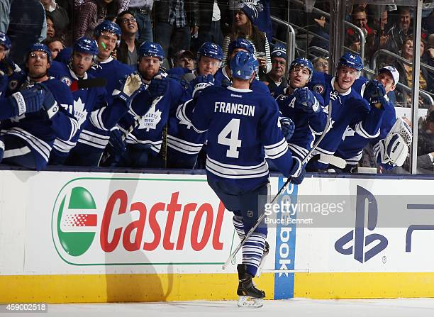 Cody Franson of the Toronto Maple Leafs celebrates his goal at 631 of the third period against the Pittsburgh Penguins at the Air Canada Centre on...