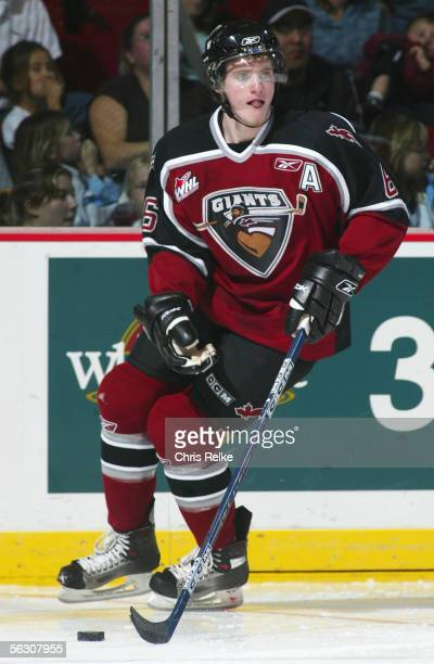 Cody Franson of the Vancouver Giants skates against the Prince Albert Raiders during the WHL hockey game on October 4 2005 at Pacific Coliseum in...