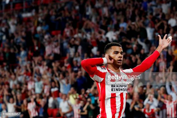 Cody Gakpo of PSV celebrates 2-0 during the UEFA Europa League match between PSV v Apollon Limassol at the Philips Stadium on August 22, 2019 in...