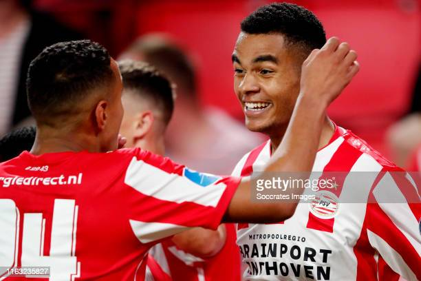 Cody Gakpo of PSV celebrates 20 with Mohammed Ihattaren of PSV during the UEFA Europa League match between PSV v Apollon Limassol at the Philips...
