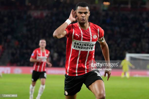 Cody Gakpo of PSV celebrates 2-1 during the Dutch Eredivisie match between PSV v PEC Zwolle at the Philips Stadium on October 16, 2021 in Eindhoven...
