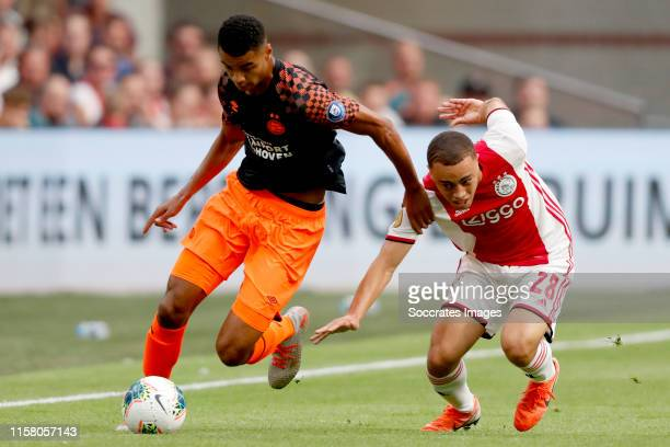 Cody Gakpo of PSV Sergino Dest of Ajax during the Dutch Johan Cruijff Schaal match between Ajax v PSV at the Johan Cruijff Arena on July 27 2019 in...