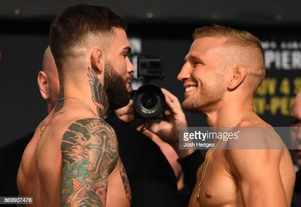 Cody Garbrandt and TJ Dillashaw face off during the UFC 217 weigh-in inside Madison Square Garden on November 3, 2017 in New York City.