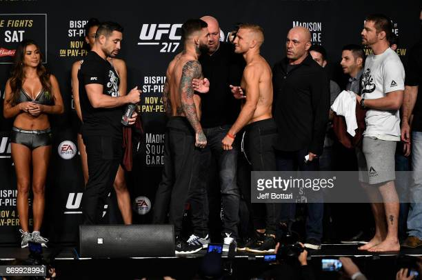 Cody Garbrandt and TJ Dillashaw face off during the UFC 217 weighin inside Madison Square Garden on November 3 2017 in New York City