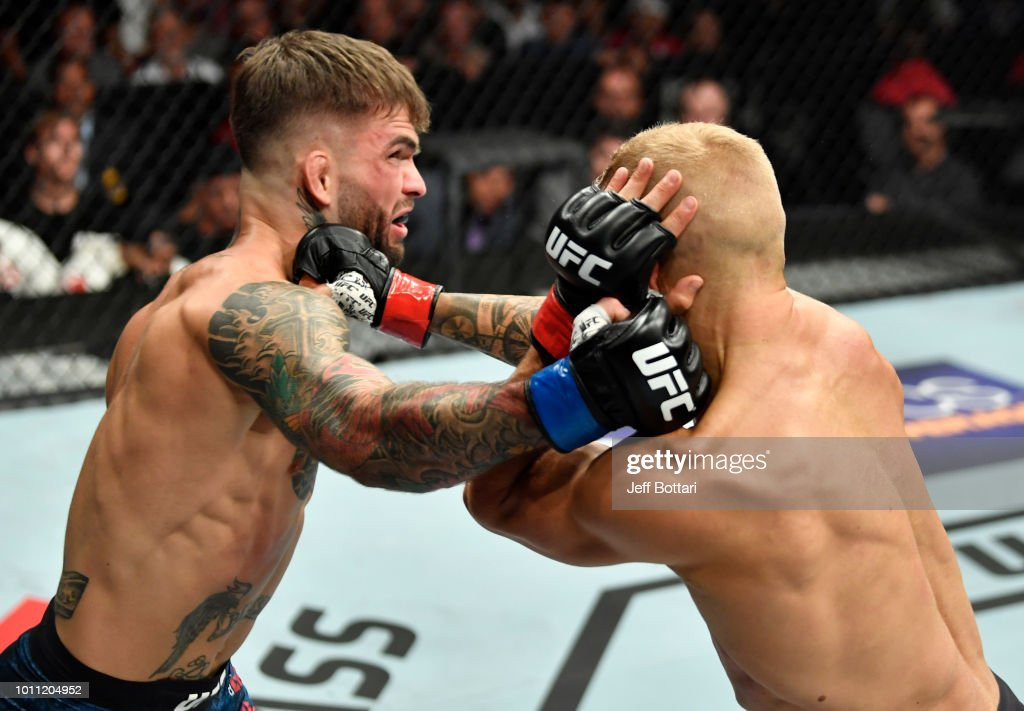 Cody Garbrandt and TJ Dillashaw trade punches in their UFC bantamweight championship fight during the UFC 227 event inside Staples Center on August 4, 2018 in Los Angeles, California.
