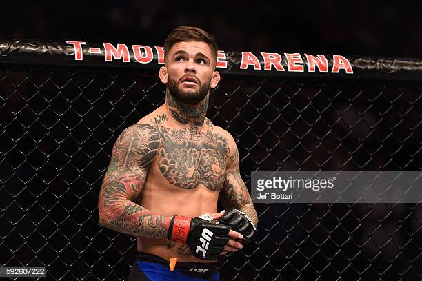 Cody Garbrandt celebrates after defeating Takeya Mizugaki of Japan in their bantamweight bout during the UFC 202 event at TMobile Arena on August 20...