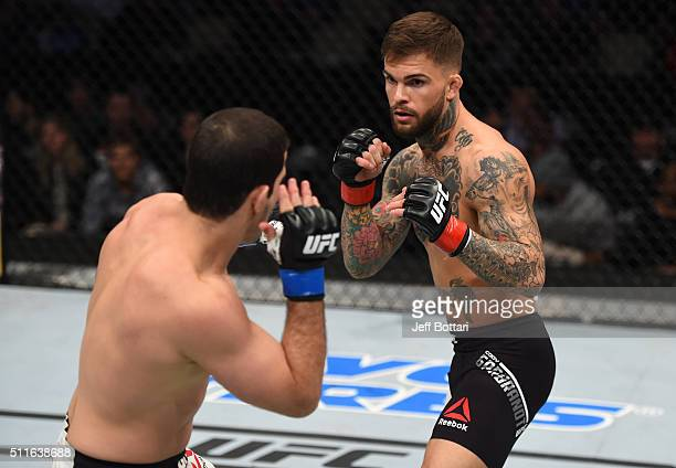 Cody Garbrandt circles Augusto Mendes in their bantamweight bout during the UFC Fight Night event at Consol Energy Center on February 21 2016 in...
