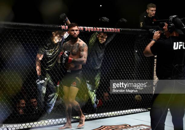 Cody Garbrandt enters the Octagon before facing TJ Dillashaw in their UFC bantamweight championship bout during the UFC 217 event inside Madison...
