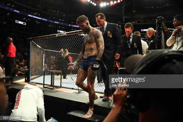 Cody Garbrandt exits the octagon after losing the UFC Bantamweight Title Bout to TJ Dillashaw during UFC 227 at Staples Center on August 4 2018 in...