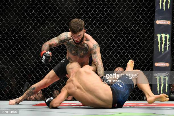 Cody Garbrandt fights TJ Dillashaw in their UFC bantamweight championship bout during the UFC 217 event at Madison Square Garden on November 4 2017...