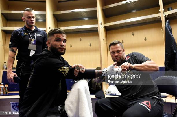 Cody Garbrandt gets his hands wrapped backstage during the UFC 217 event inside Madison Square Garden on November 4 2017 in New York City