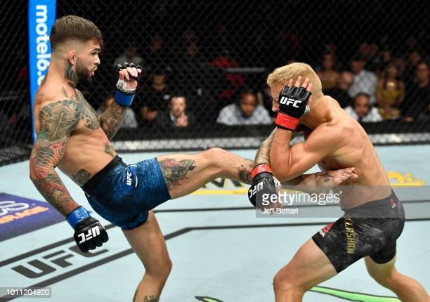 Cody Garbrandt kicks TJ Dillashaw in their UFC bantamweight championship fight during the UFC 227 event inside Staples Center on August 4 2018 in Los...