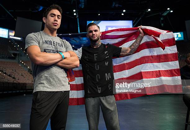 Cody Garbrandt poses for a photo with teammate Justin Buchholz backstage stepping onto the scale during the UFC Fight Night WeighIns inside the...