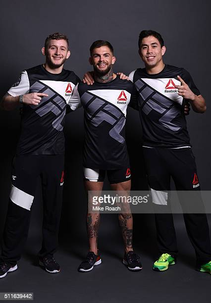 Cody Garbrandt poses for a post fight portrait backstage with his team during the UFC Fight Night event at Consol Energy Center on February 21 2016...