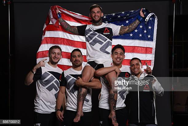 Cody Garbrandt poses for a post fight portrait with his team backstage during the UFC Fight Night Event inside the Mandalay Bay Events Center on May...
