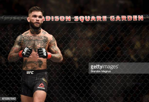 Cody Garbrandt prepares for the second round to begin while facing TJ Dillashaw in their UFC bantamweight championship bout during the UFC 217 event...