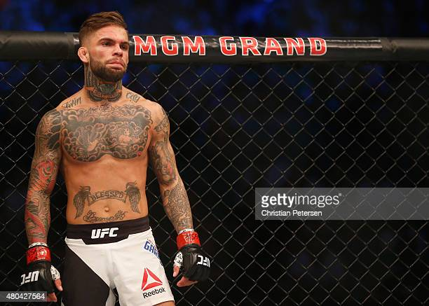Cody Garbrandt prepares to face Henry Briones in their bantamweight fight during the UFC 189 event inside MGM Grand Garden Arena on July 11 2015 in...