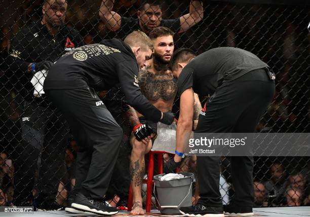 Cody Garbrandt prepares to fight TJ Dillashaw in their UFC bantamweight championship bout during the UFC 217 event at Madison Square Garden on...