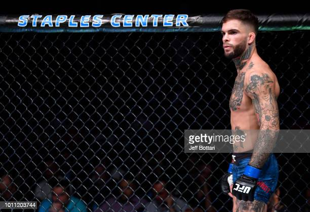 Cody Garbrandt prepares to fight TJ Dillashaw in their UFC bantamweight championship fight during the UFC 227 event inside Staples Center on August 4...