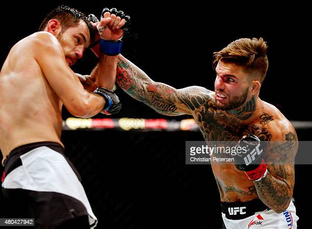 Cody Garbrandt punches Henry Briones in their bantamweight fight during the UFC 189 event inside MGM Grand Garden Arena on July 11 2015 in Las Vegas...