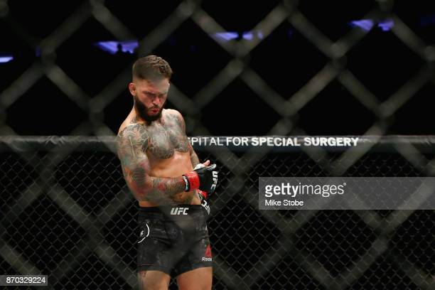 Cody Garbrandt reacts during his UFC bantamweight championship bout against TJ Dillashaw during the UFC 217 event at Madison Square Garden on...