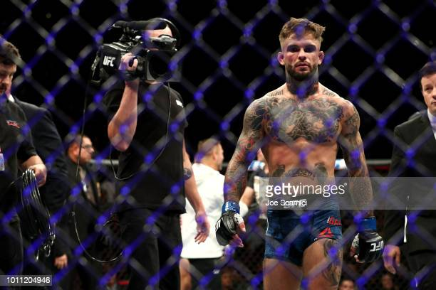 Cody Garbrandt returns to his corner after losing the UFC Bantamweight Title Bout to TJ Dillashaw in one round during UFC 227 at Staples Center on...