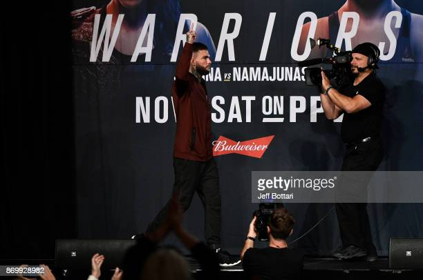 Cody Garbrandt walks onstage during the UFC 217 weighin inside Madison Square Garden on November 3 2017 in New York City