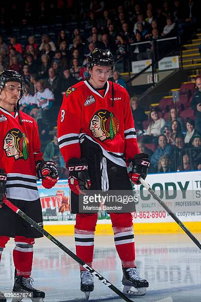 Cody Glass of the Portland Winterhawks lines up against the Kelowna Rockets on January 21 2017 at Prospera Place in Kelowna British Columbia Canada